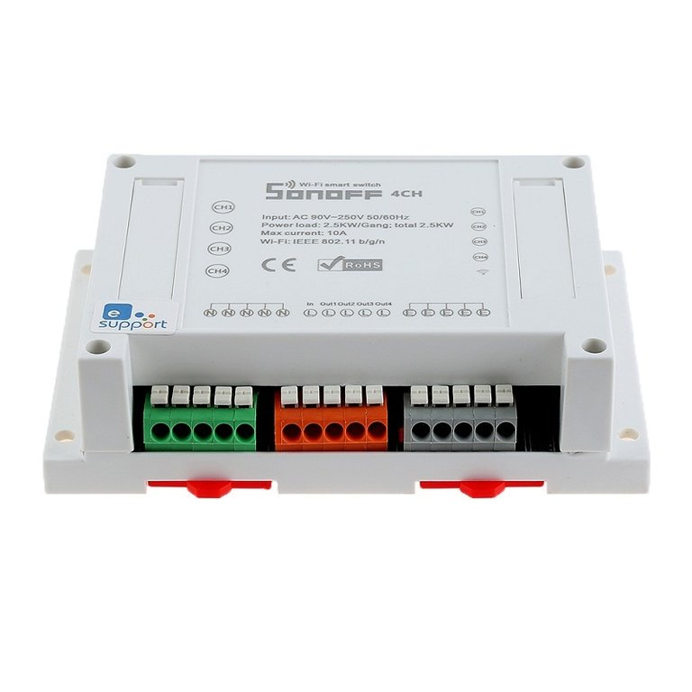 sonoff 4ch 4 channel din rail mounting wifi switch. Black Bedroom Furniture Sets. Home Design Ideas