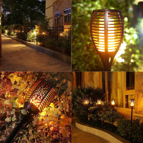 Solar Fackel 96LEDs Flackernd Tolle Flammenimitation Wasserdicht